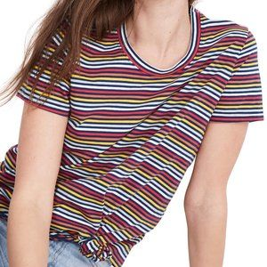 Madewell Rainbow Stripe Knot Front Tee